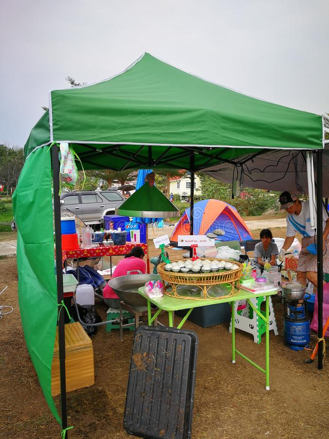 Market of camping item and accessories royalty free stock image
