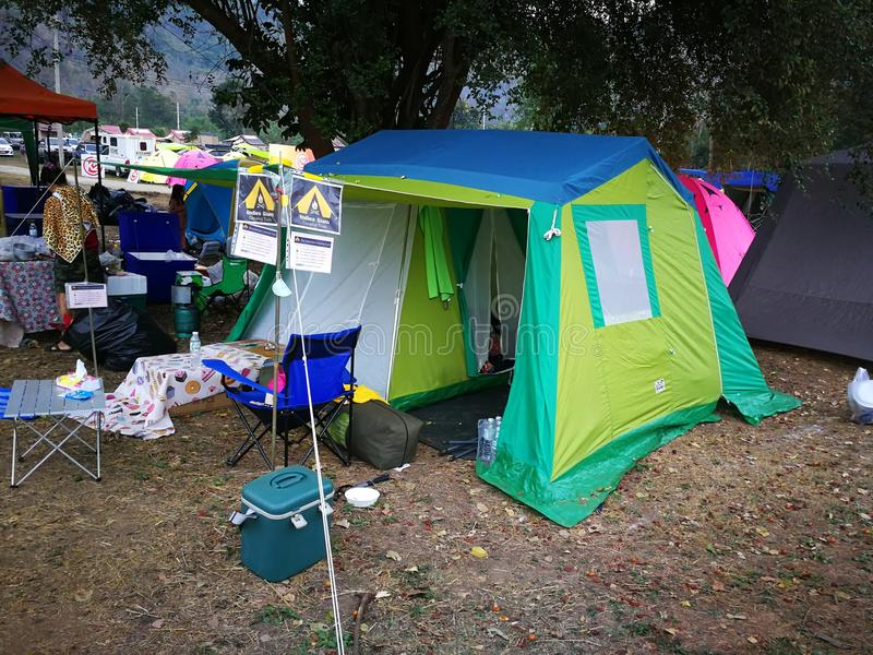 Market of camping item and accessories stock photography