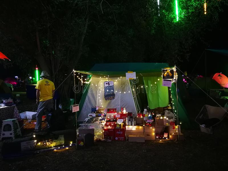 Market of camping item and accessories royalty free stock images