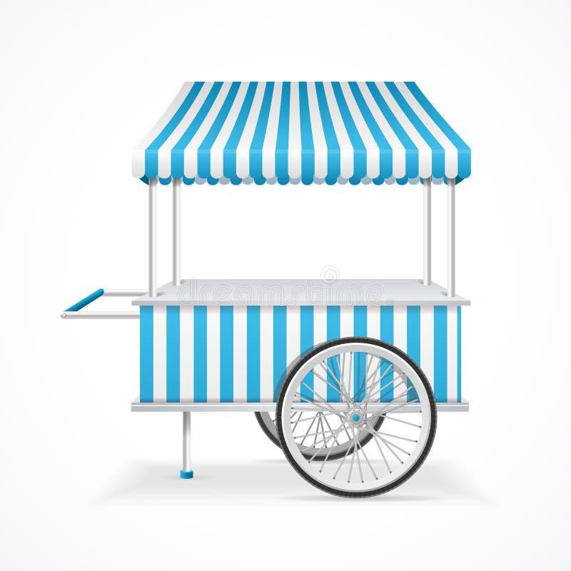 Market Cart. Vector. Market Cart Mobile in Blue and White Stripes. Vector illustration stock illustration