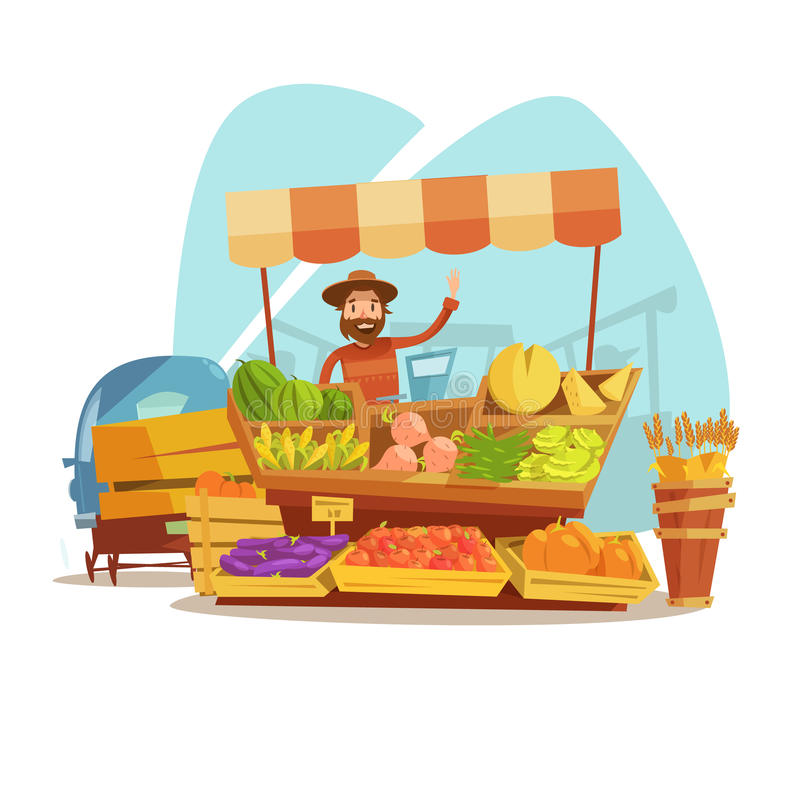Market Cartoon Concept. With farmer selling vegetables and fruit vector illustration royalty free illustration