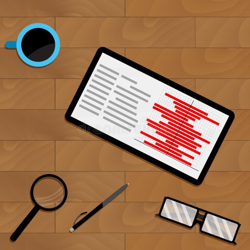 Market chart statistic on tablet screen. Vector profit document flowchart illustration royalty free illustration