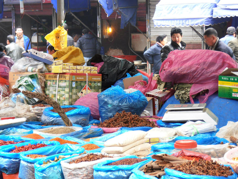 Market in china. This is a market in the city Nantong, in China stock images