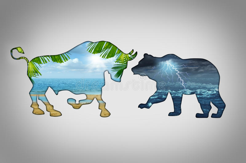 Market Climate. Economy concept with a tropical beach paradise scene contrasted with a stormy lightning cloud night in the shape of a bull and bear as financial vector illustration