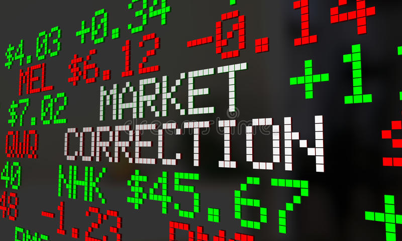 Market Correction Stock Prices Fall Ticker Adjustment. 3d Illustration stock illustration