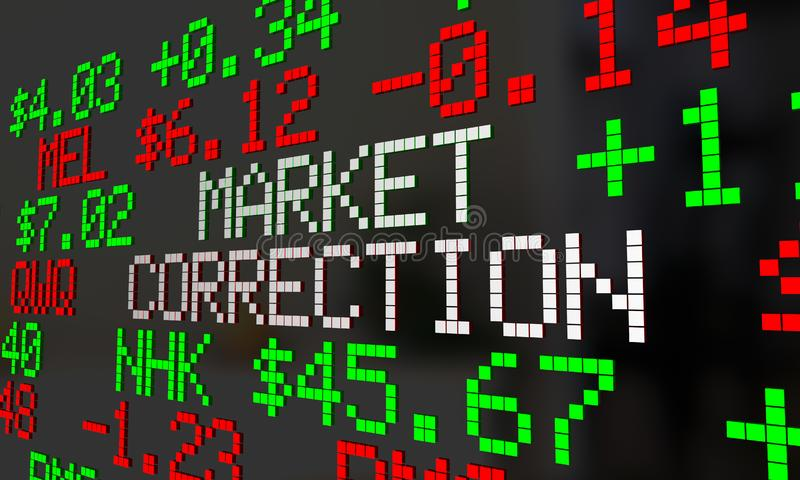 Market Correction Stock Prices Fall Ticker Adjustment 3d Illustration stock illustration