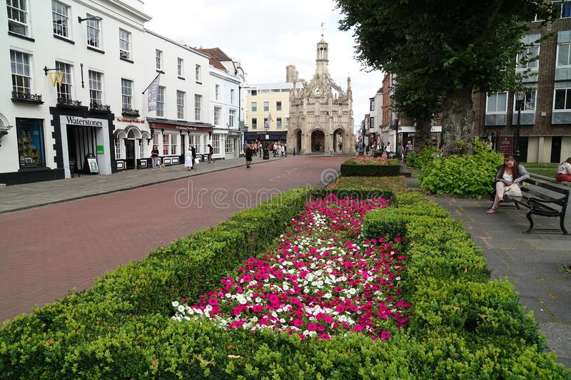 Market cross in historic city. The historic perpendicular market cross made of caen stone in the centre of the city of Chichester in West Sussex, England royalty free stock photos