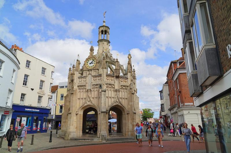 Market cross in historic city. The historic perpendicular market cross made of caen stone in the centre of the city of Chichester in West Sussex, England stock images