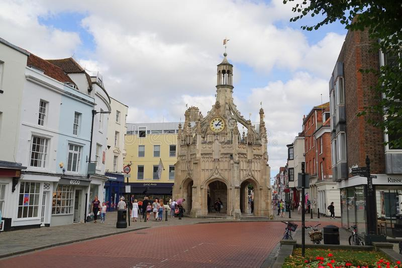 Market cross in historic city. The historic perpendicular market cross made of caen stone in the centre of the city of Chichester in West Sussex, England royalty free stock images