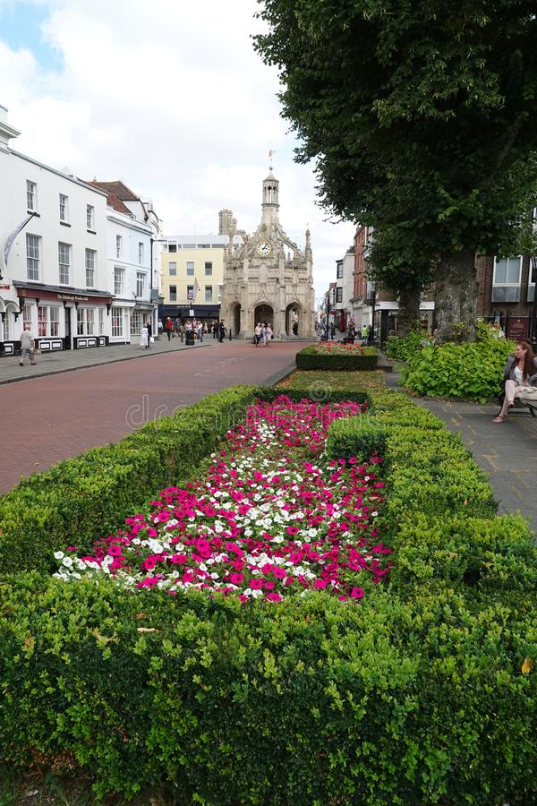 Market cross in historic city. The historic perpendicular market cross made of caen stone in the centre of the city of Chichester in West Sussex, England stock photo