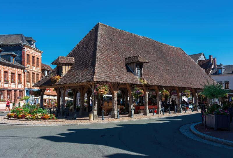 The market hall of Lyons la foret in Normandy stock photo