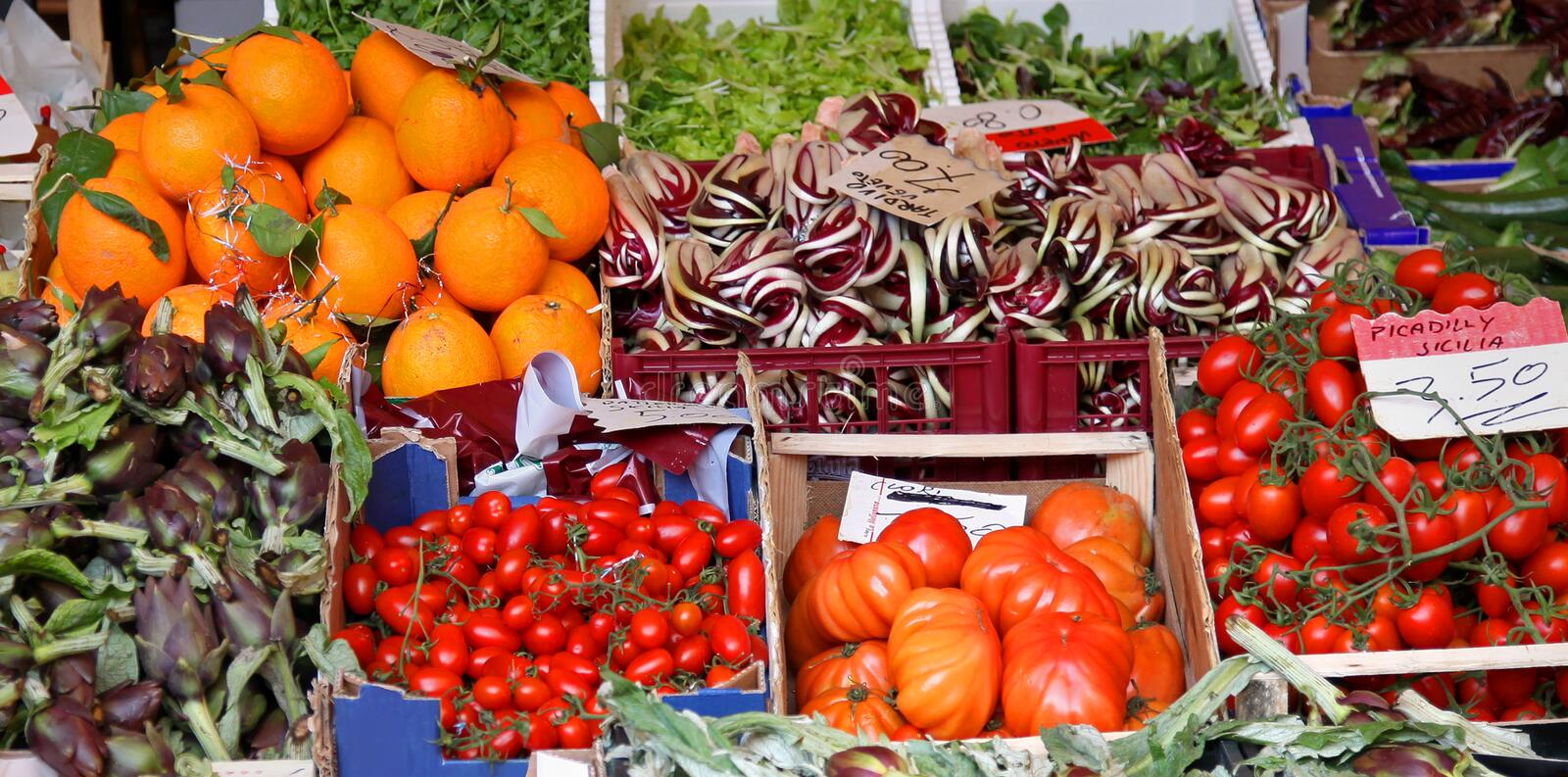 Market food. Fresh organic food variety on green market stock images