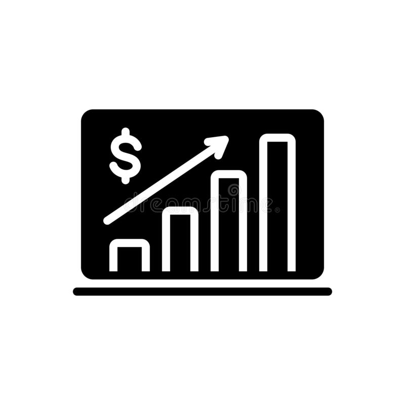Black solid icon for Market Forecast, analysis and diagram stock illustration