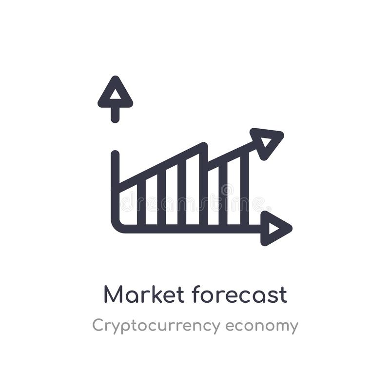 market forecast outline icon. isolated line vector illustration from cryptocurrency economy collection. editable thin stroke royalty free illustration