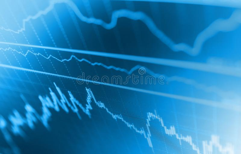 Market or forex trading graph and candlestick chart suitable for financial investment concept. Shallow DOF. vector illustration