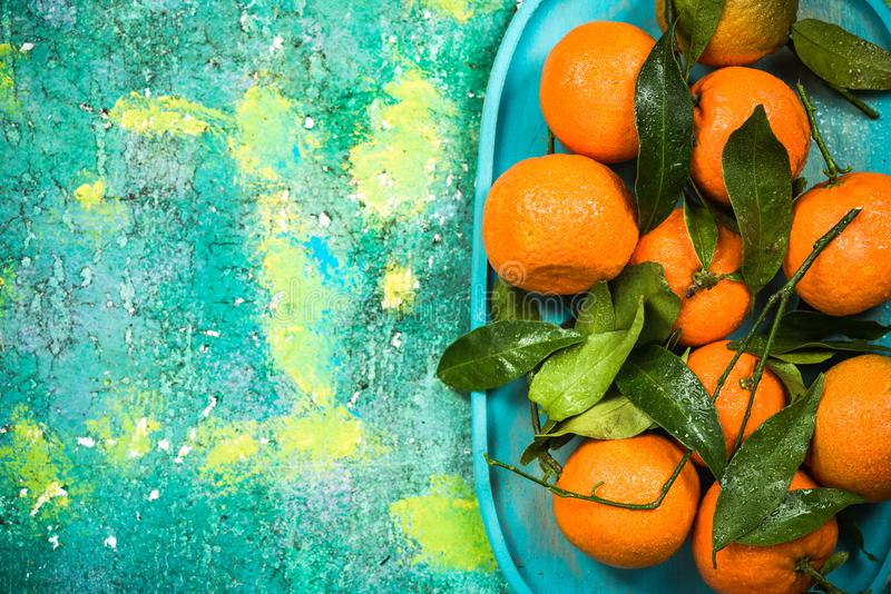 market fresh tangerines or clementines with leaves stock photography