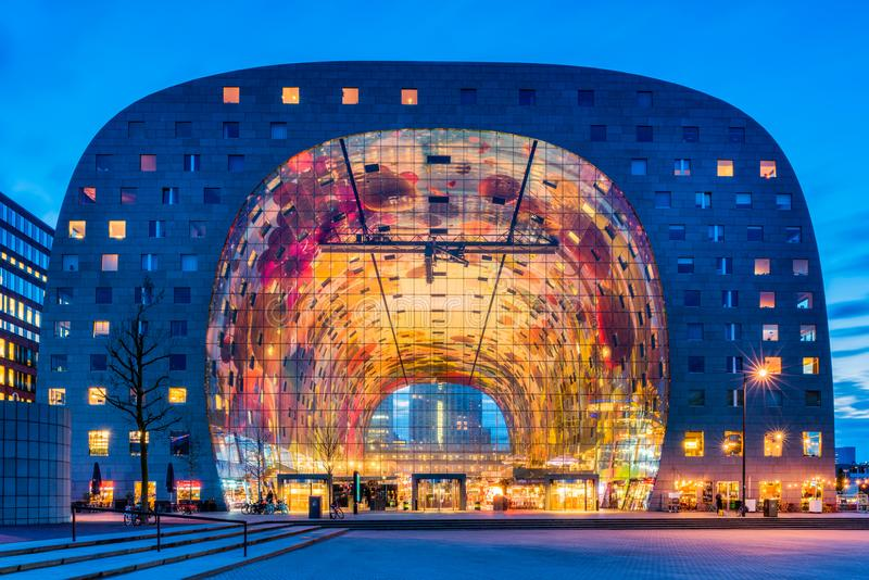 Market Hall in Blaak District of Rotterdam, Netherlands at Dusk stock images