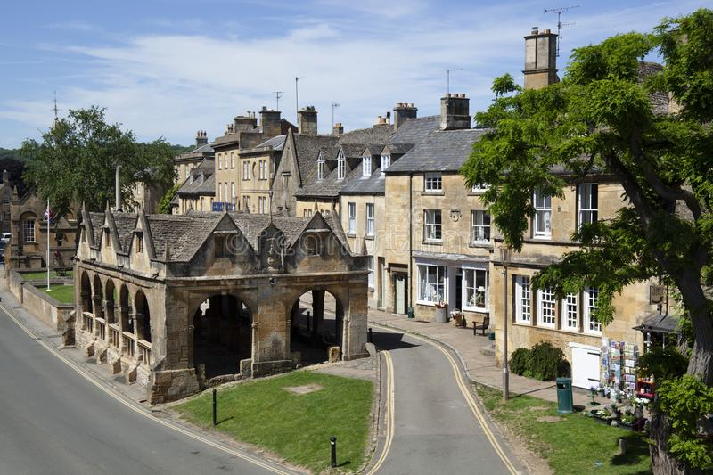 Chipping Campden Market Hall and High Street stock images