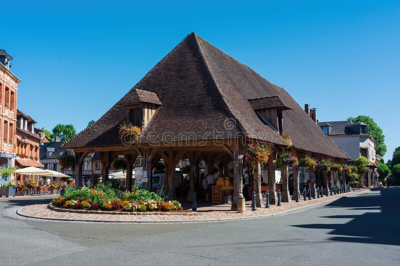 The market hall of Lyons la foret in Normandy stock images