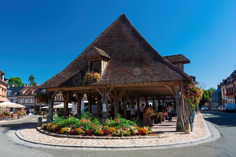 The market hall of Lyons la foret in Normandy stock photos