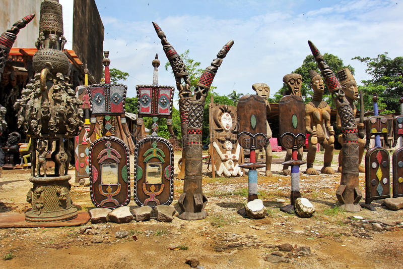 Market of handicrafts, Douala, Cameroun royalty free stock photos