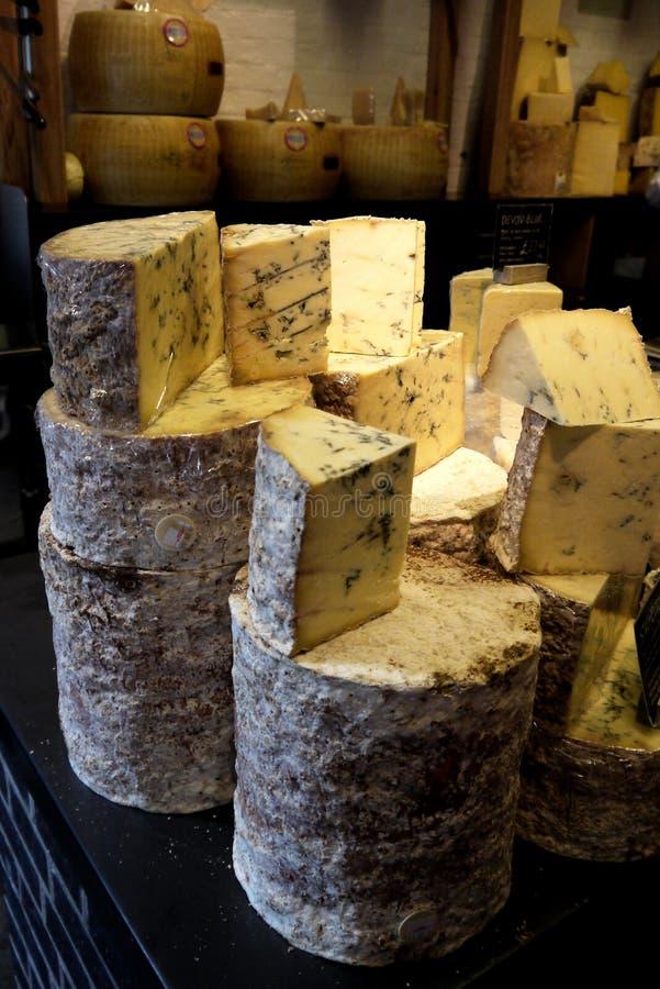 Food market: handmade gourmet cheeses royalty free stock image