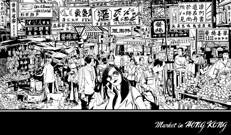Market in Hong Kong vector illustration
