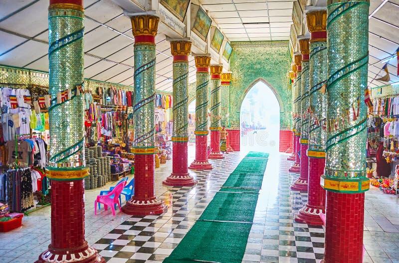 The market of Kaunghmudaw Pagoda, Sagaing, Myanmar royalty free stock photo