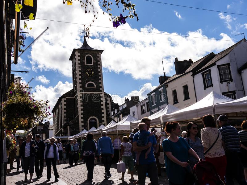 Market in Keswick in north-western England, in the heart of the Lake District. Keswick is a market town in northwest England's Lake District National royalty free stock photo