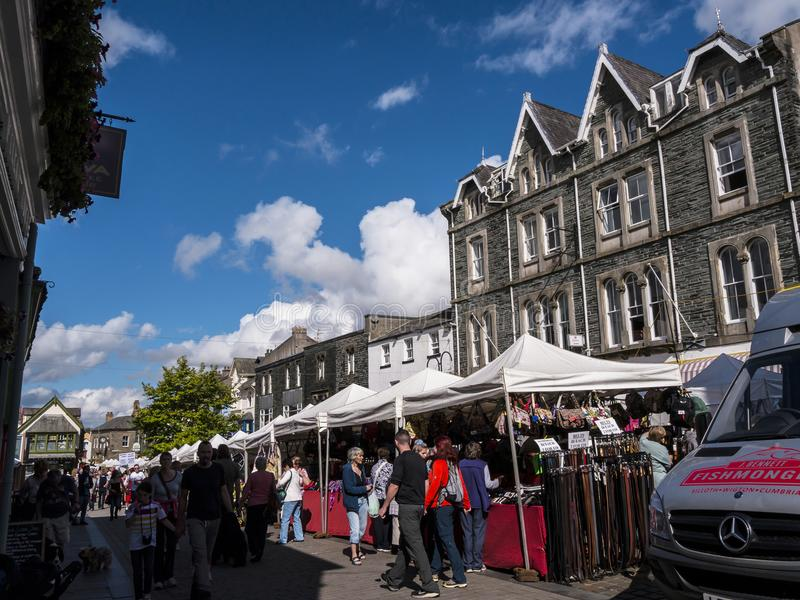 Market in Keswick in north-western England, in the heart of the Lake District. Keswick is a market town in northwest England's Lake District National stock image