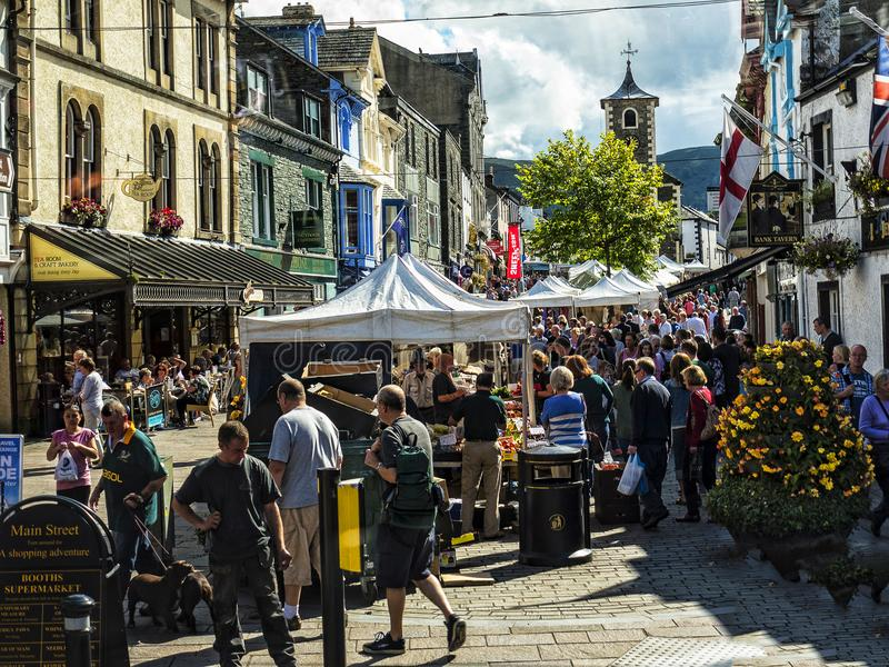 Market in Keswick in north-western England, in the heart of the Lake District. Keswick is a market town in northwest England's Lake District National stock images