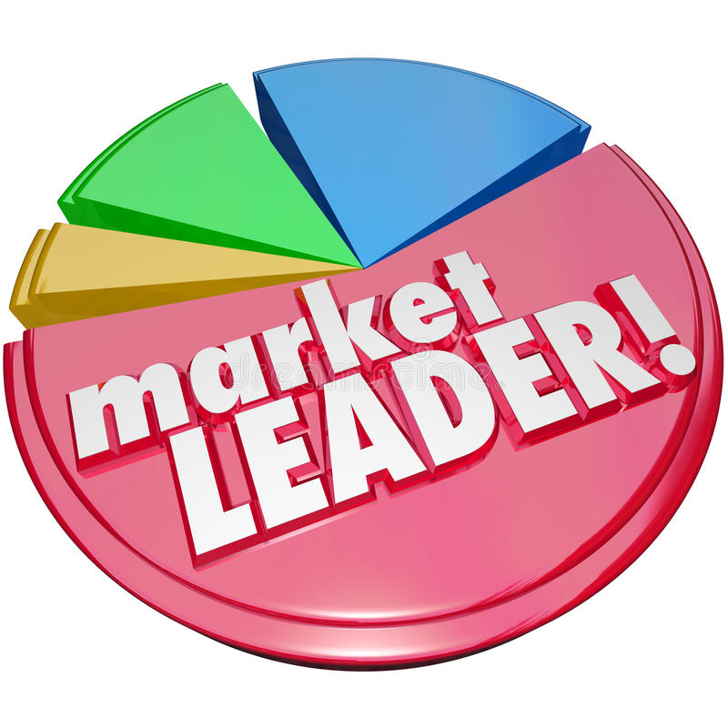 Market Leader Words Pie Chart Top Winning Company Biggest Share vector illustration