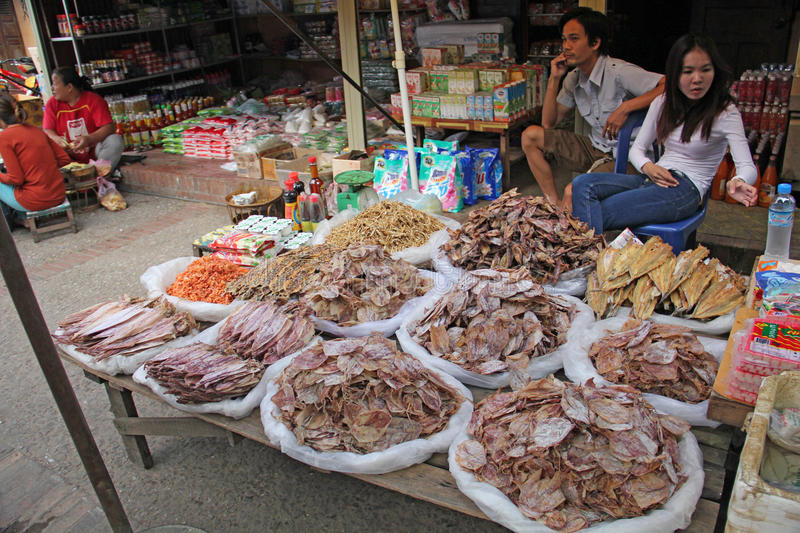 Market in Luang Prabang, Laos royalty free stock photos