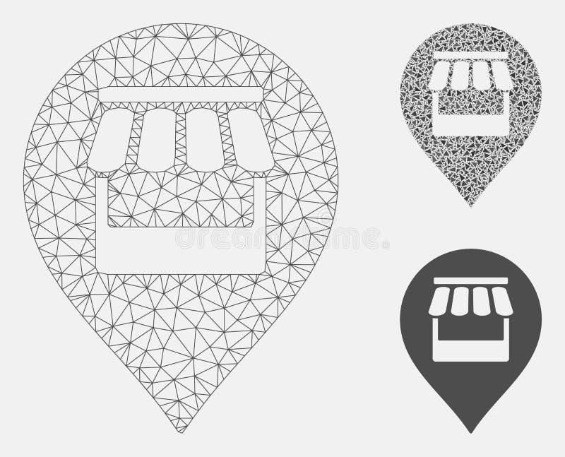 Market Marker Vector Mesh Wire Frame Model and Triangle Mosaic Icon. Mesh market marker model with triangle mosaic icon. Wire frame polygonal mesh of market stock illustration