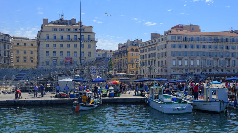 Market in the Old Port of Marseille. Market in the Old Port (Vieux Port) of Marseille stock photo
