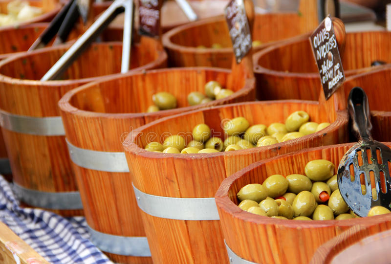 Market with olives royalty free stock photos