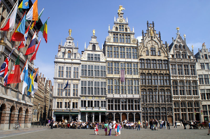 Market place Antwerp stock photography