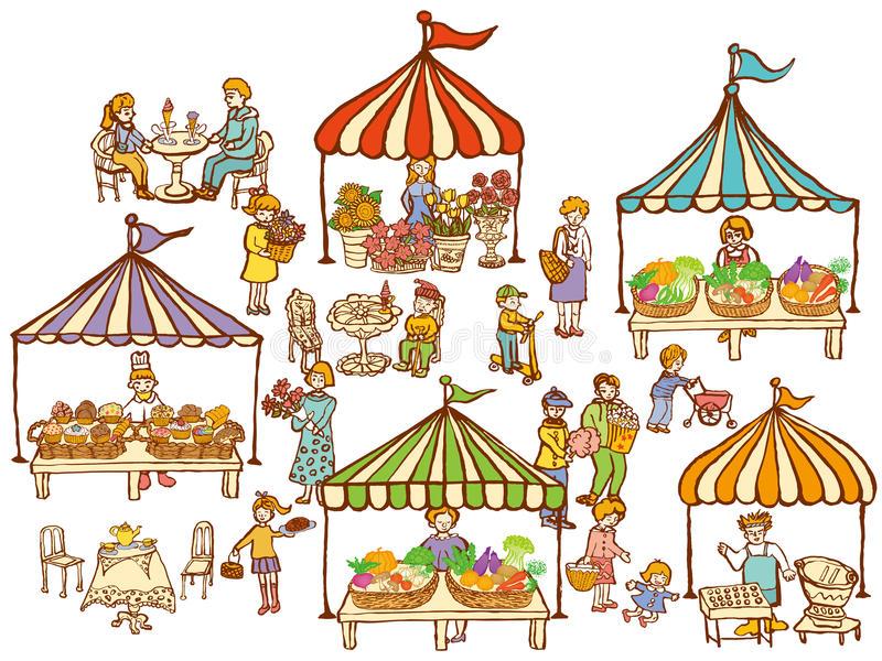 Market place with food and vegetables stands. Market place. variety of food and vegetables at stands stock illustration