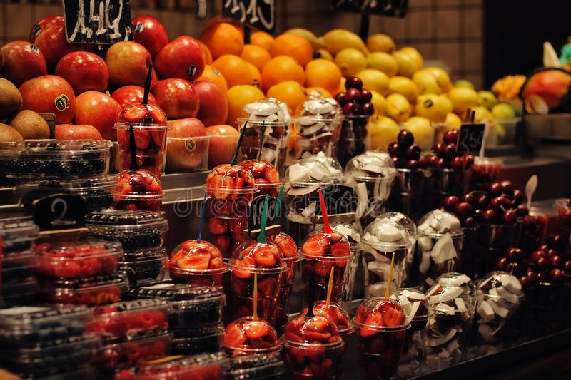 Market place for fruits and vegetables in Barcelona. stock photography