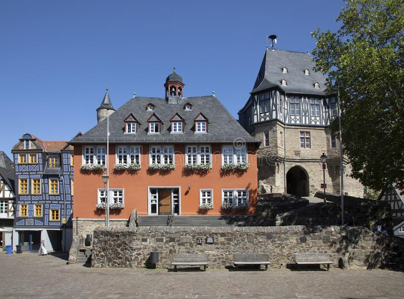 Market place in Idstein with half timbered houses and town hall. Germany royalty free stock photography