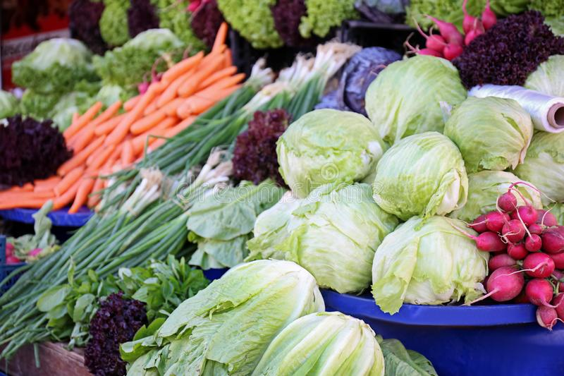 Market place with many different vegetables stock image