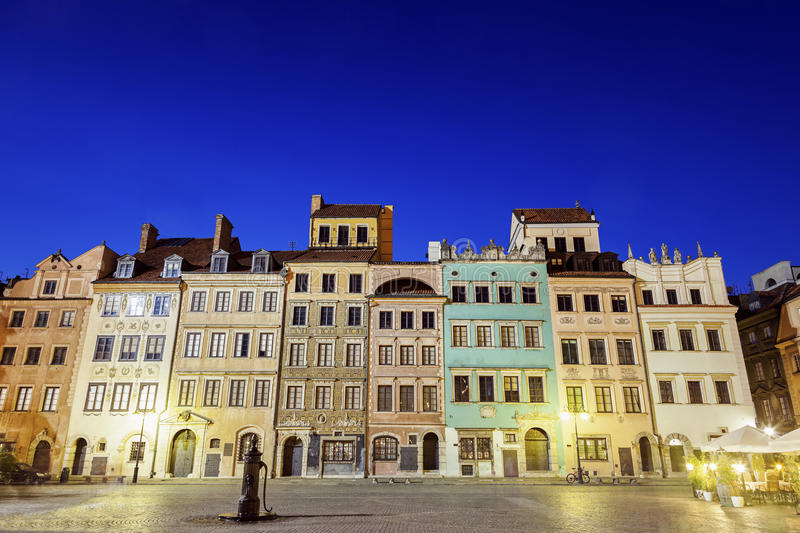Market Place in Warsaw. Seen at night. Warsaw, Poland royalty free stock photo