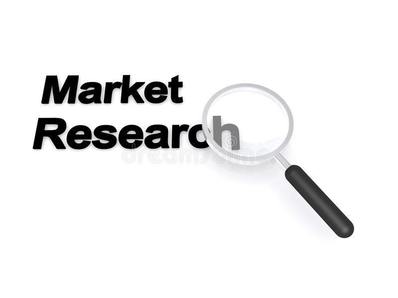 Market research. A concept image with a magnifying glass focused on the text market research royalty free illustration