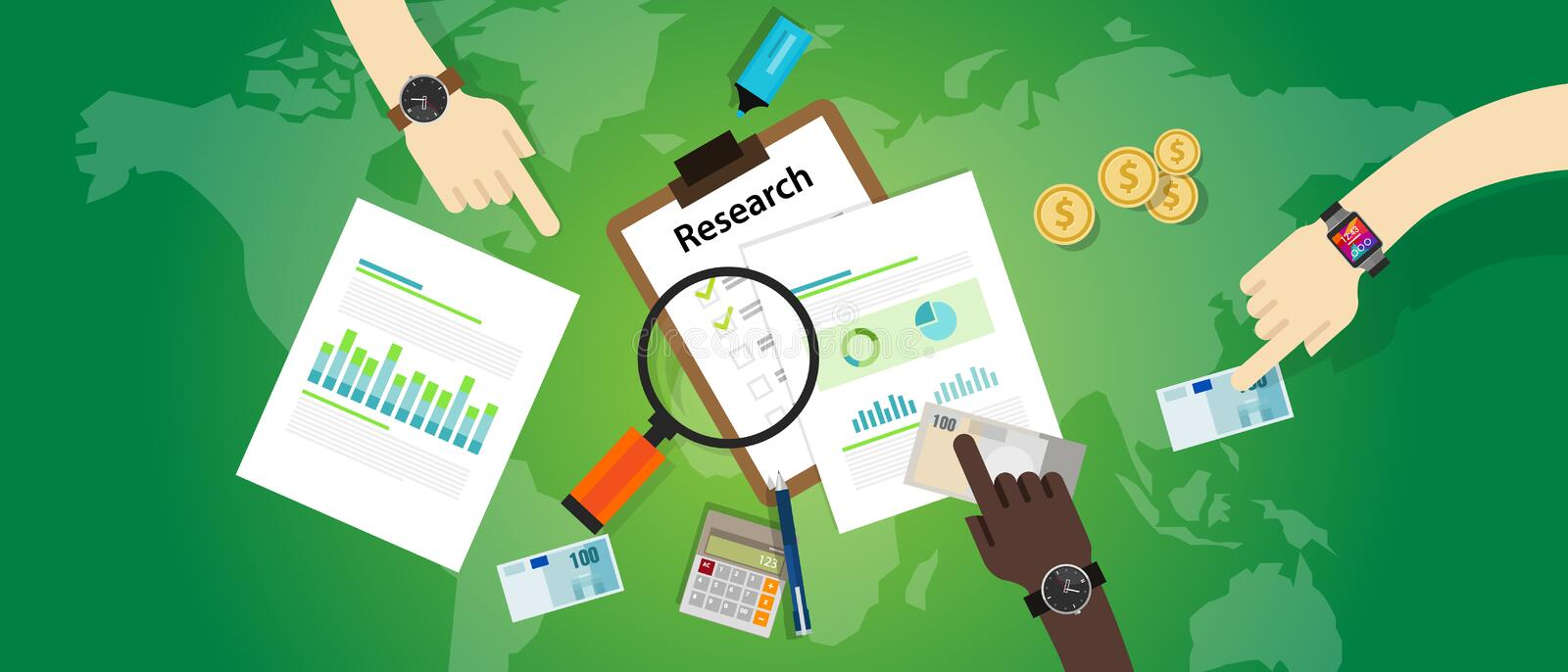 Market research analysis chart bar pie business process product information focus. Vector royalty free illustration