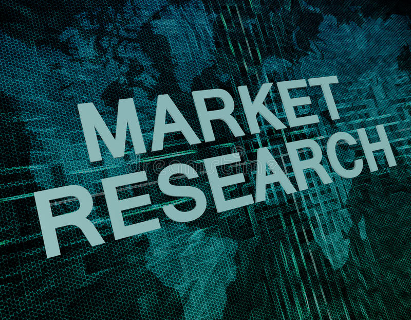 Market Research. Text concept on green digital world map background vector illustration