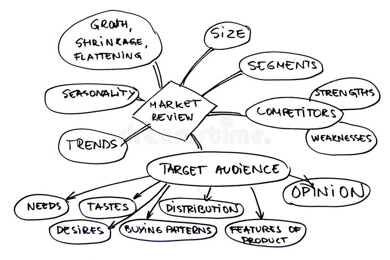 Market review diagram. Graphic representation of market targeting and management vector illustration