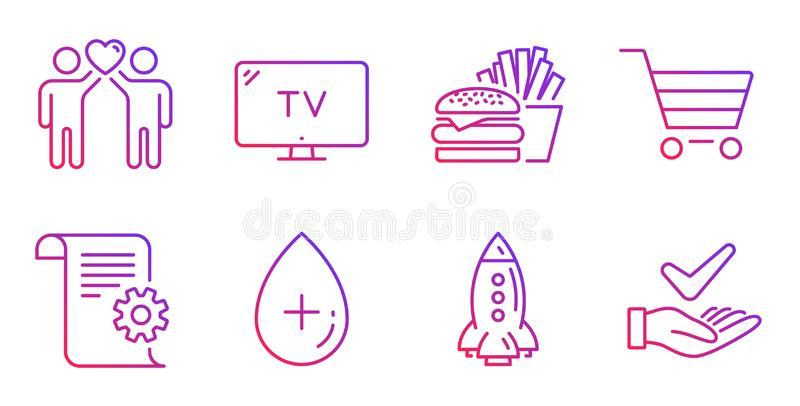Market sale, Friends couple and Oil serum icons set. Tv, Burger and Rocket signs. Vector. Market sale, Friends couple and Oil serum line icons set. Tv, Burger stock illustration
