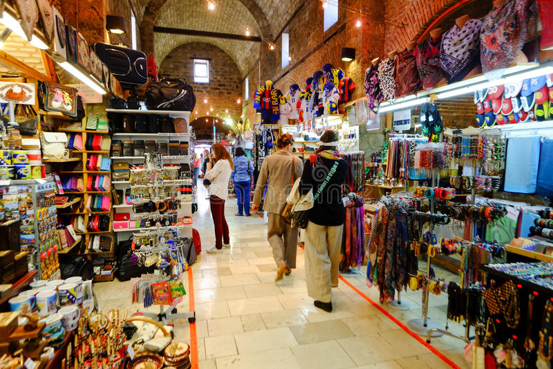 Market in Sarajevo. Sellers of tourist souvenirs in the market hall in Sarajevo. Bosnia and Herzegovina stock images
