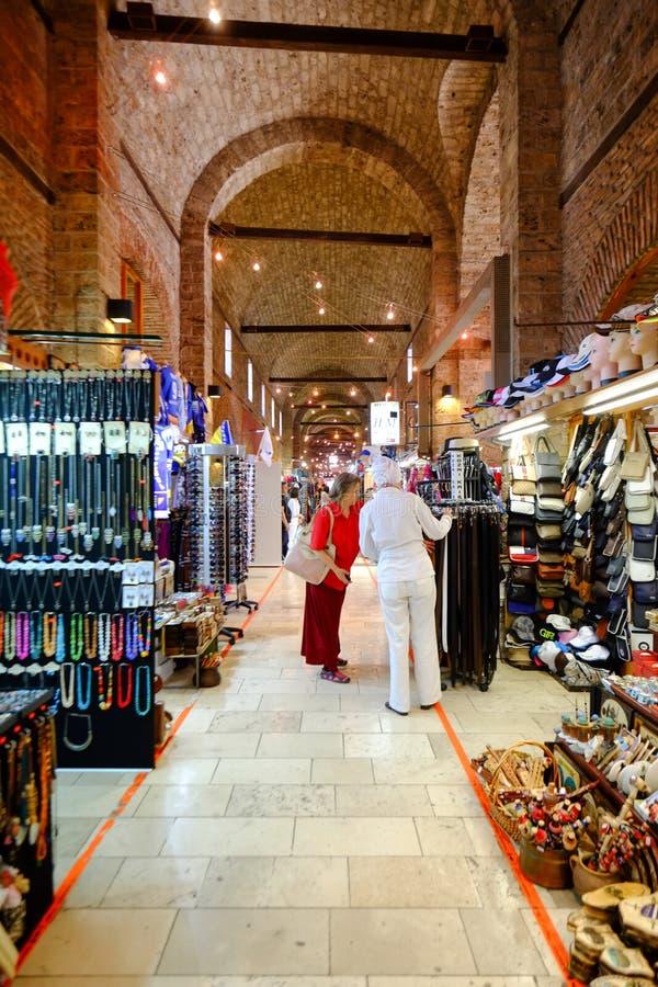 Market in Sarajevo. Sellers of tourist souvenirs in the market hall in Sarajevo. Bosnia and Herzegovina stock photo