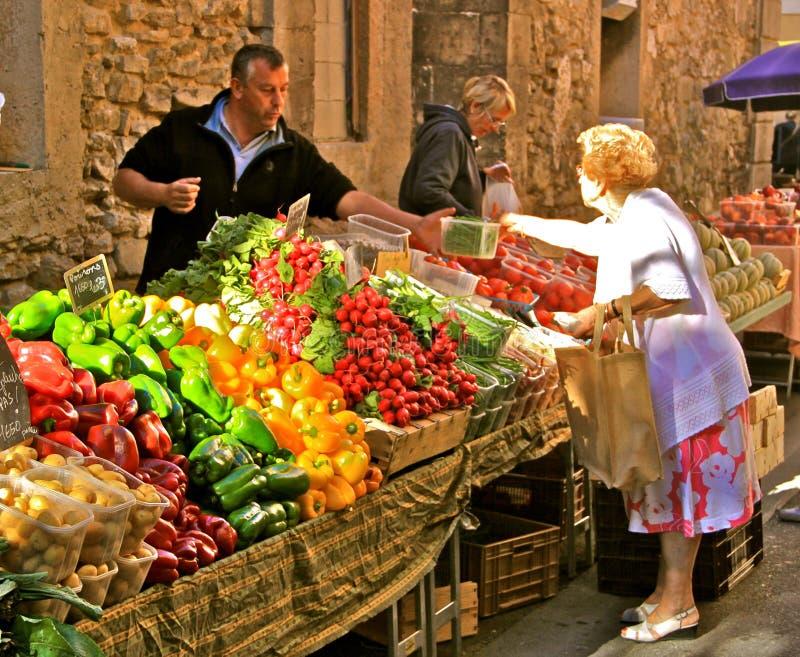 Market scene, Provence, France stock images